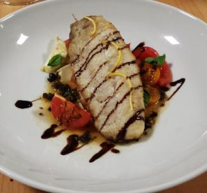 Panfried Market Fish with Cherry Tomato, Bocconcini, Basil & Balsamic
