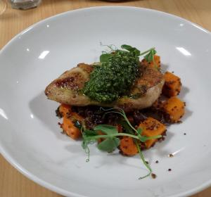 Seared Chicken Breast with Pesto on Red Quinoa & Pumpkin Salad