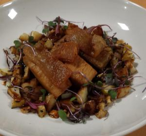 Twice Cooked Pork Belly with Hazelnuts on Fennel & Apple Salad & New Potatoes